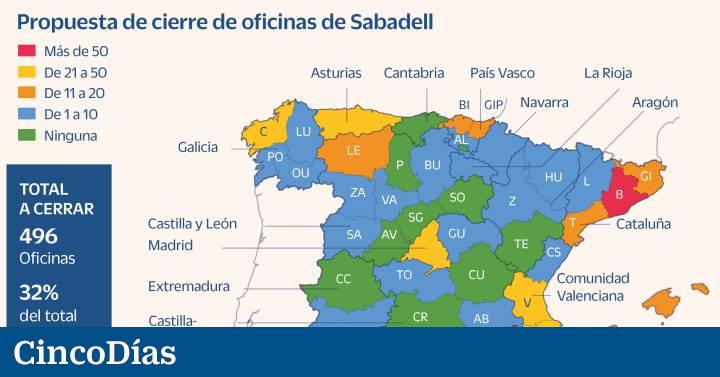 Dónde están las oficinas que cerrará Banco Sabadell durante su reorganización  Compañías