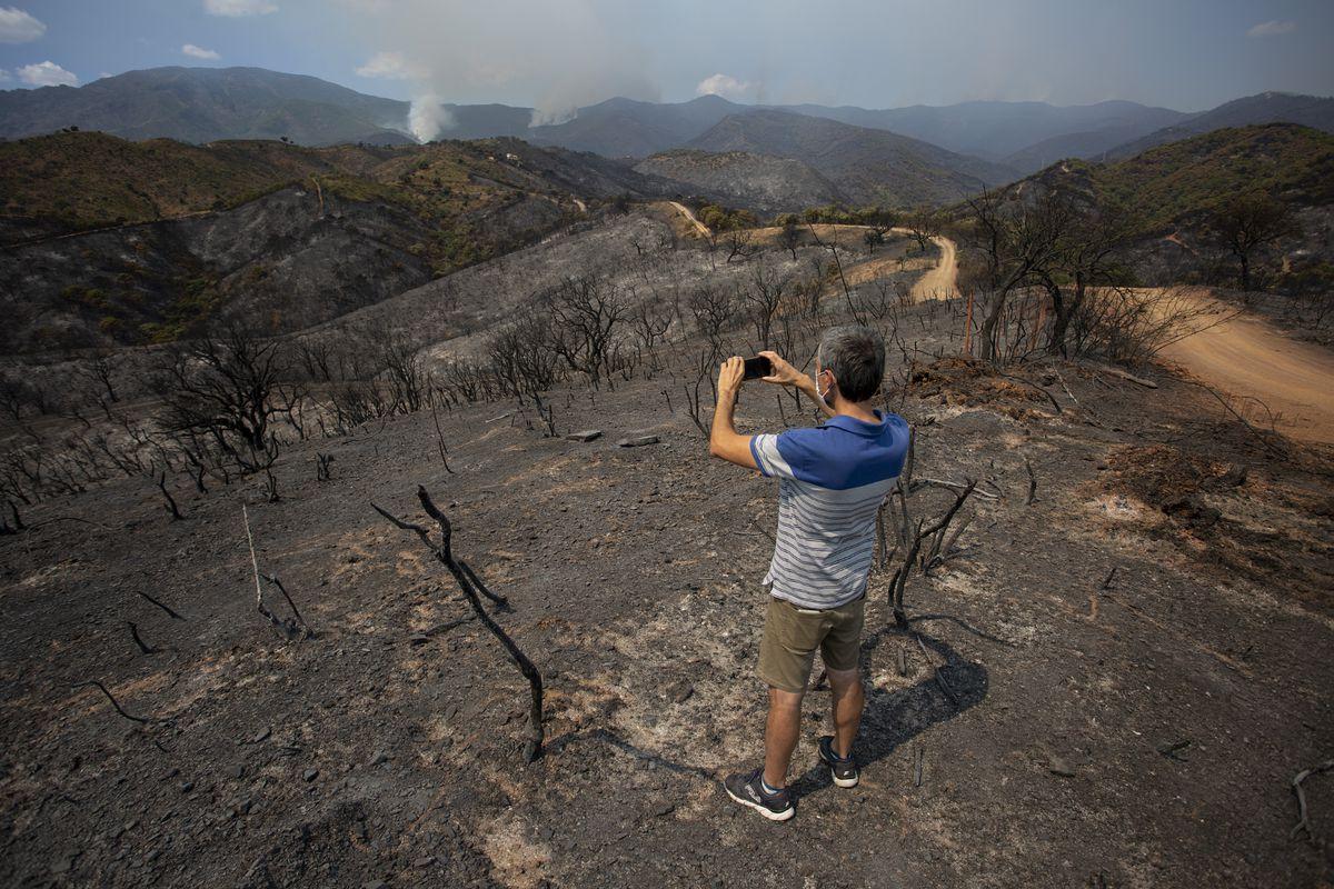 El viento y el terreno complican la lucha contra incendios en Estepona  España