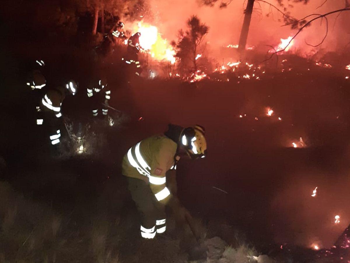 La mejora de las condiciones permite la reanudación de las tareas de extinción de incendios en tierra en Sierra Bermeja |  España